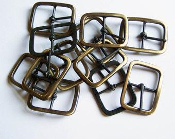 "1.5 Inch Buckles - Lot of 12 Antiqued Brass Finish Belt Buckles  1 -1/2"" Belt Buckles"