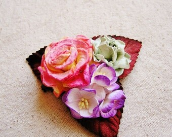Rosemary, Purple, Strawberry Buttercream Mixed bunch Vintage style Millinery Flower spray Bouquet- corsage, floral shabby chic-32514 OOAK