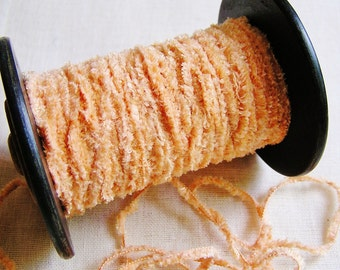 Peach Sorbet Fizz Fringe- chenille craft trimming, wedding party decoration, novelty gift wrap, specialty ribbon-5 yds