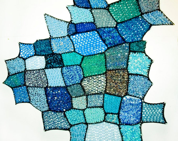 Blue Wall Hanging of Crochet Patches Asymmetrical Tapestry Handmade Unique One of a Kind Home Decor Art