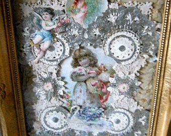 Framed Valentines Card -Victorian Sweetheart Valentine Card- Handmade 3-D Embossed Card Stock- Vintage Greeting Cards