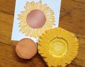 Sunflower Rubber Stamp Set Hand Carved