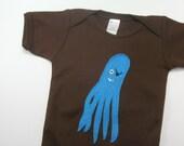 Blue Pirate Squid Onesie Size 3-6 Months on Brown