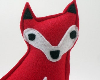 Fox Plush Toy in Red Eco Spun Felt // Perfect Baby Gift for a Woodlands Themed Nursery