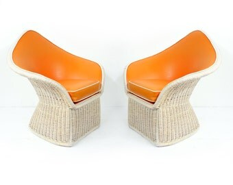 Pair of 1970s Arthur Elrod Orange Spade Large Lounge Chairs by McGuire Hollywood Regency Palm Beach Modern