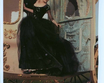 Upscale Halloween Costume Carriage Gown replica from Marie Antoinette Movie....Black sparkle tulle fantasy gown custom