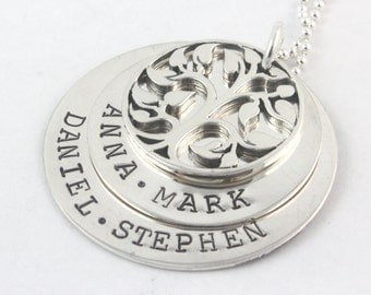 Mother's Day Gift for Mom - Tree of Life Sterling Silver Necklace - Custom Personalized Handstamped Gift for Grandma - Family Names