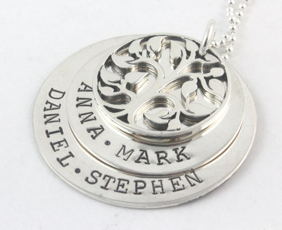 Mother's Day Gift for Mom - Tree of Life Sterling Silver Necklace - Custom Personalized Gift for Mom