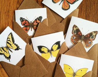 Small square enclosure cards - California butterflies