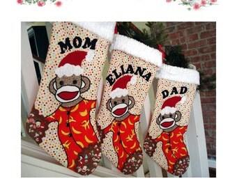 Santa Sock Monkey Stocking PDF Pattern Instant download