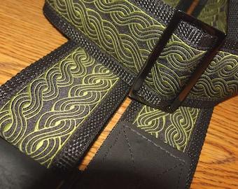 Olive Embroidered Trim GUITAR STRAP, Celtic Rope Pattern,Adjustable