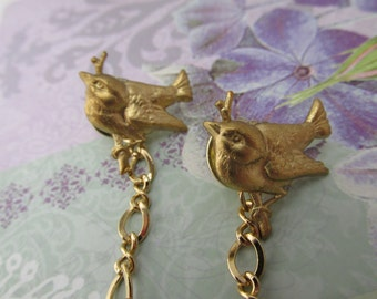 Blue Bird Sweater clips Cardigan clips collar clips Gold sweater guard Bluebirds cardigan clips