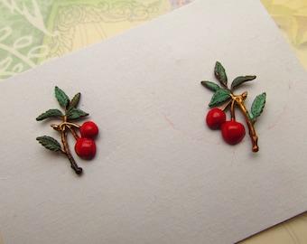 Cherry Earrings Art Nouveau Pierced earrings Victorian Lightweight earrings vintage post earrings
