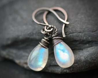 Moonstone - Wire Wrapped Briolette Blackened Sterling Silver Earrings