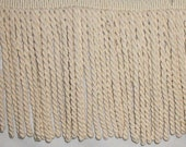 "Lot of 9"" Cotton Bullion Trim in Natural AND 1 3/4"" Cotton Brush Fringe in Natural"