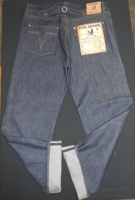1930s Style Men's Pants Superior 1930s VINTAGE REPRODUCTION Rockabilly Buckle Back Jeans by Evil Denim  AT vintagedancer.com