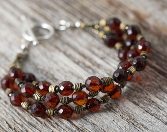 Baltic Amber Pyrite Bronze sterling silver bracelet all natural Baltic Amber 3 Strand stacking bracelet toggle clasp