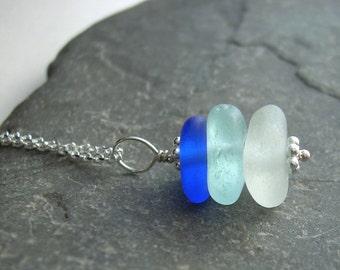Aqua Blue Sea Glass Necklace, Beach Wedding Jewelry, Cobalt Bridesmaid Necklace