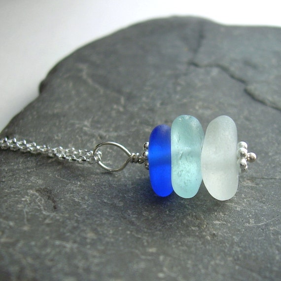 Aqua Blue Sea Glass Necklace, Beach Wedding Jewelry, Cobalt Bridesmaid Necklace, Stacked Pendant, Gift Under 40