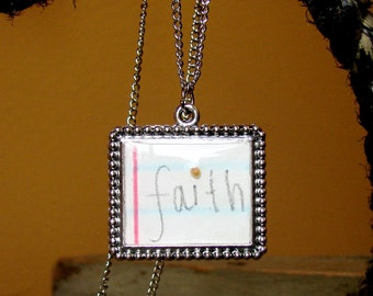"""The Mustard Seed Necklace... Handwritten Love Notes """"Faith"""" on Antiqued Silver"""