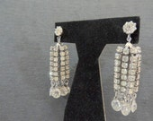 Big and Beautiful Hattie Carnegie Vintage Rhinestone Chandelier Clip On Earrings-Dangle Glamorous