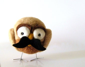 Wool Felted Hoot with Mustache