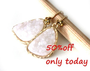 Druzy white color earrings - rich color with  Gold Filled ear wires