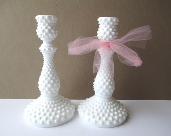 Elegant Tall Vintage Fenton Milk Glass Hobnail Candleholder Pair
