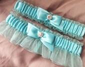 Aqua Pool Blue Bridal Garter Set Rhinestone Wedding Garter Set