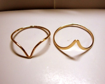 Skinny Chevron Knuckle Stacker Ring - custom made in your size - Eco Friendly Sterling Silver, Gold filled, Solid gold 10k, 14k or 18k
