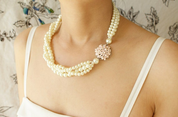 Bridal statement necklace, pastel pink enamel flower rhinestone, three strand twisted pearl necklace, bridesmaid jewelry, Hydrangea necklace