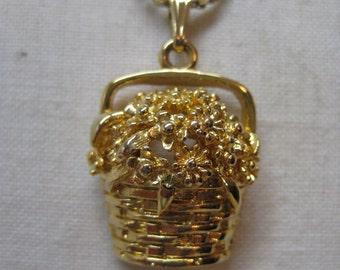 Flower Basket Gold Necklace Pendant Vintage Pendant