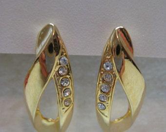 Rhinestone Gold Earrings Pierced Post Clear Vintage