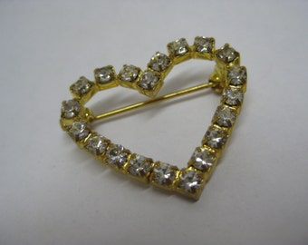 Heart Rhinestone Brooch Clear Gold Vintage Pin