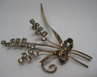 Flower Bow Rhinestone Gold Brooch Clear Vintage Pin