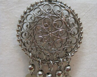 Filigree Dangle Silver Necklace Vintage Pendant