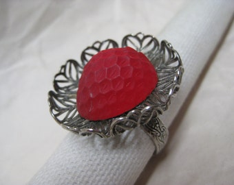 Red Glass Texture Silver Cab Ring Adjustable Filigree Vintage