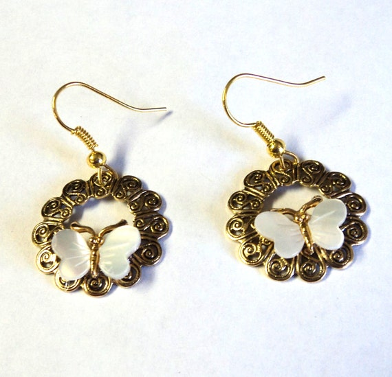 Earrings Dangle Antique Gold Round Filigree Stampt with Butterflies