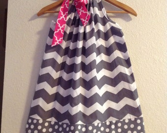 dress gray chevron pillowcase dress  available in size 3,6,9,12,18, months ,2t,3t,4t,5t,6,7,8,10,12