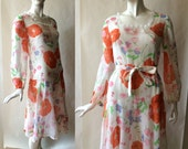 1970's poppy dress, in a sheer floral print cotton, 1920's drop waist style, long sleeves, medium