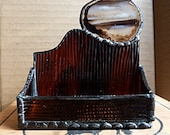 Business Card Holder Brown Stained Glass with Geode Agate