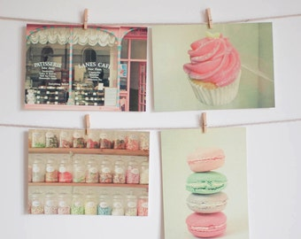 Postcard Set, Food Photography, Candy and Cake in Pastel Colours, Pink and Mint, Retro, Affordable Art - Sweet Things