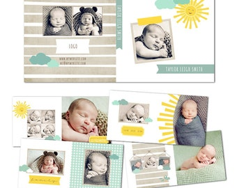 Sunshine 10x10 Fully Customizable Photo Album for Newborns - 11 Files - Photoshopt templates for Photographers - AS0001