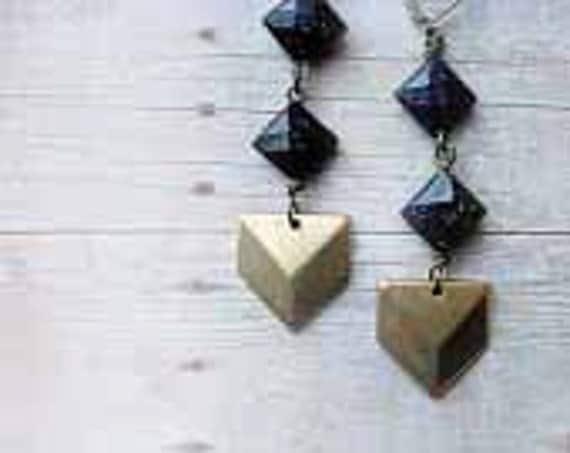Chevron Diamond Geometric Earrings Midnight Blue Goldstone Shimmer Dangles Gift for Her