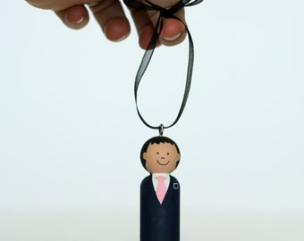 ONE Custom LDS Elder Missionary Ornament Wooden Peg doll