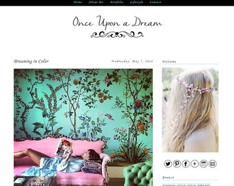 Premade Blogger Template - ONCE UPON A DREAM - Mobile Responsive Template - Graphic Design - Blog Template