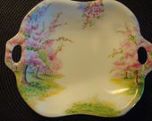 Vintage china serving dish with built in handles-Prince Albert Blossom Time pattern- England