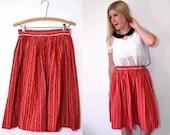 Bandana Red Midi Skirt - Full Red Skirt - 1960s Alex Colman Circle Skirt