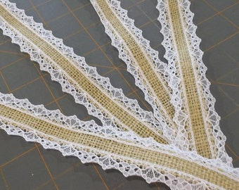 Skinny Burlap and White Lace Ribbon - 1 inch x 3 yards