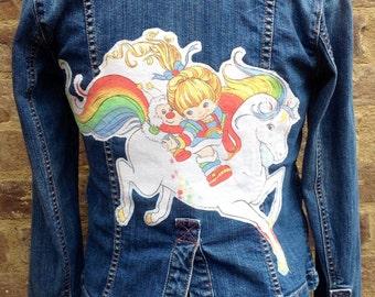 Upcycled Rainbow Brite Embellished Denim Jean Jacket - made with vintage Rainbow Brite fabric OOAK
